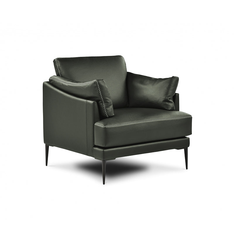 modern olive leather arm chair with decorative accent stitch
