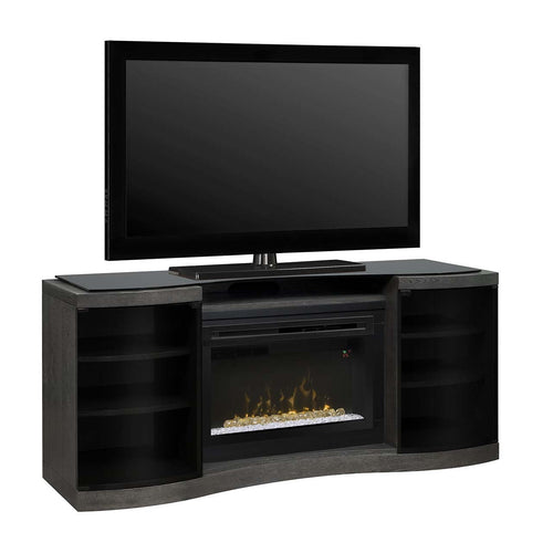 Black modern electric fireplace and cabinet