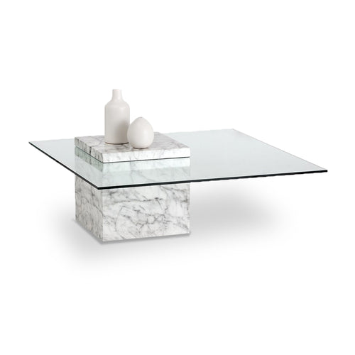 Modern glass coffee table with marble finished concrete base