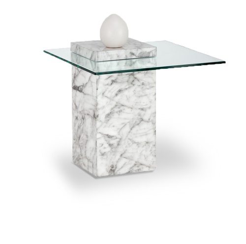 Modern glass end table with marble finished concrete base