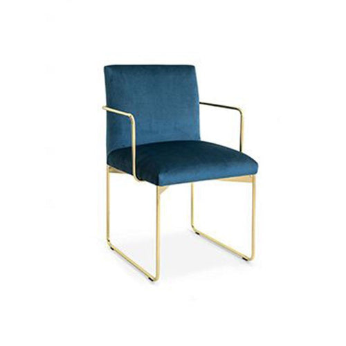 modern custom order upholstered dining arm chair with metal base in Blue and Brass made in Italy