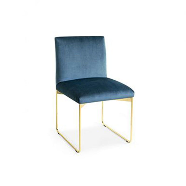 modern custom order upholstered dining chair with metal base in Blue and Brass made in Italy