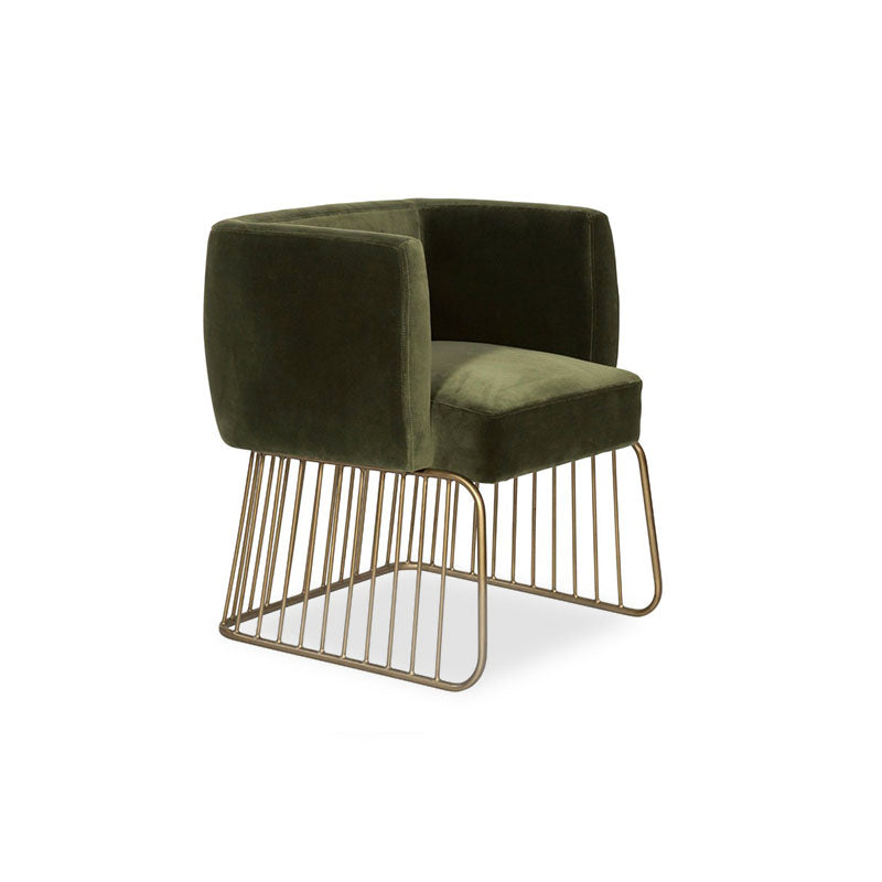 Shadow Grey Fabric Dining Chair with Antique Brass Cage Base