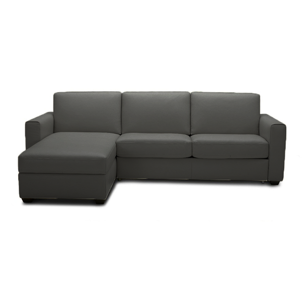 modern left hand facing light grey fabric sofa bed sectional with memory foam mattress and storage chaise