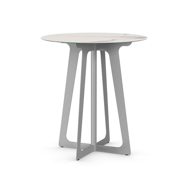 Modern pub table with metal base and porcelain glass top