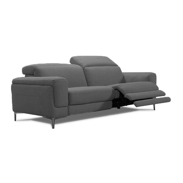 Modern dark pewter grey fabric reclining sofa