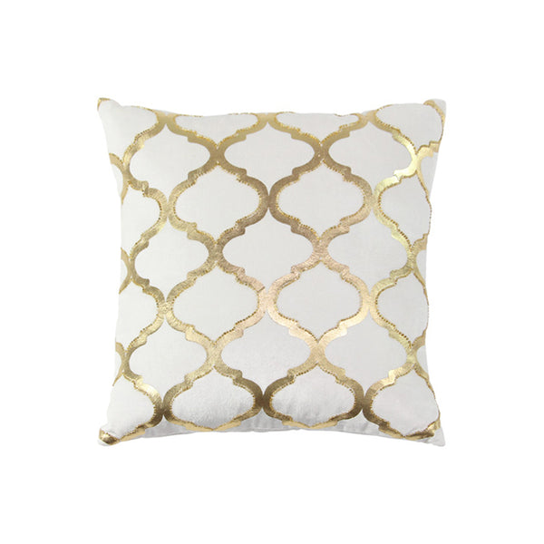 Gold and white modern cotton pillow
