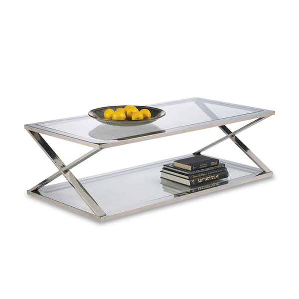modern Polished Stainless Steel X base coffee table with tempered glass top and shelf