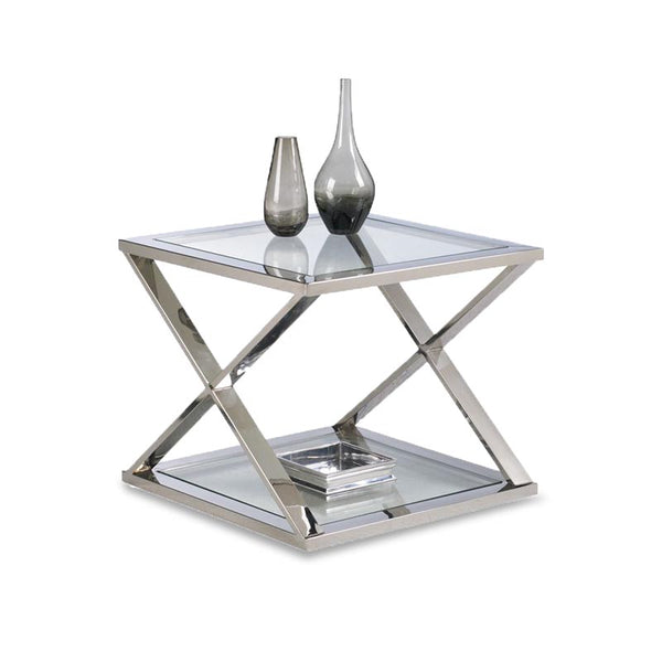 Polished Stainless X Frame End Table with Glass Shelves