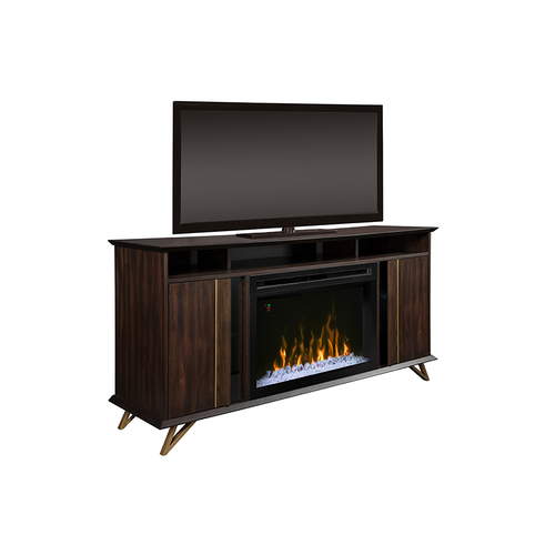 modern carob finished media console fireplace with acrylic ice firebox and gold and glass accents