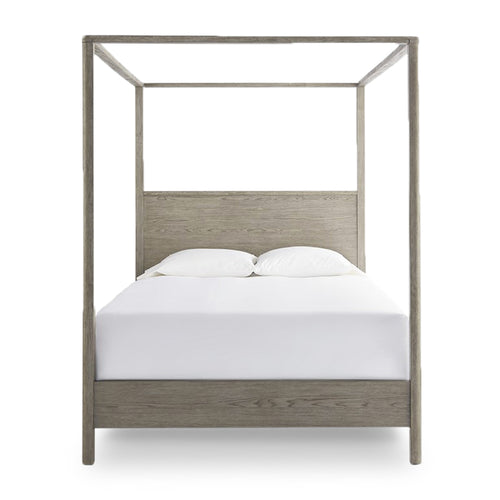 modern minimalist 4 poster queen bed in granite grey stain finish