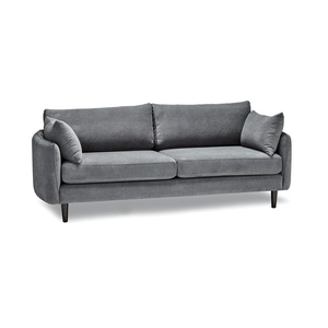 modern plush shadow grey fabric sofa with curved sides and espresso wood leg