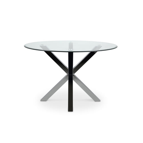 Modern round glass dining table with chrome star base