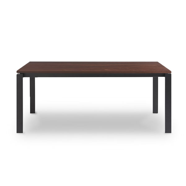 modern white marble topped rectangular dining table with metal base in dark bronze finish