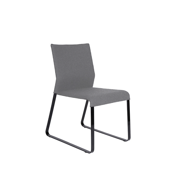 Grey modern microfiber dining chair with black painted legs