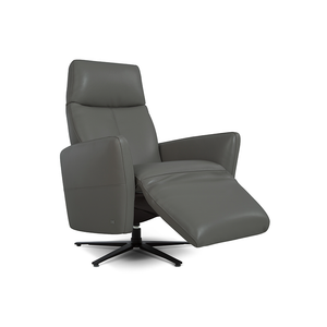 modern graphite grey top grain leather power reclining TV Chair with black star base