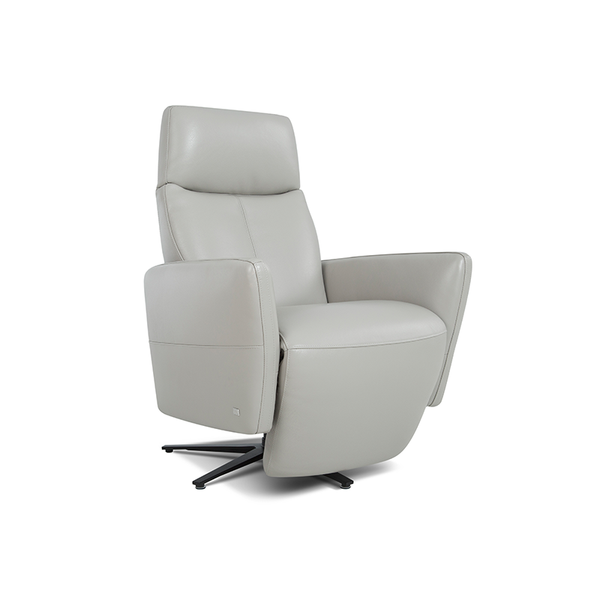 modern white top grain leather power reclining TV Chair with black star base
