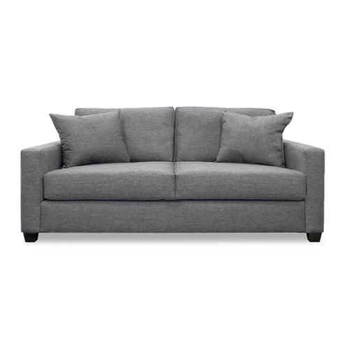 Modern Grey Fabric Loveseat with 2 toss cushions