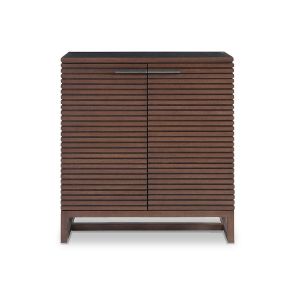 Modern Walnut Bar Storage Cabinet with ridged front styling