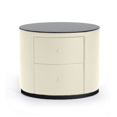 Off white modern bonded leather night stand with black glass top and black base