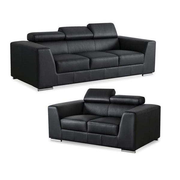 Black modern leather sofa and loveseat set with stainless steel legs