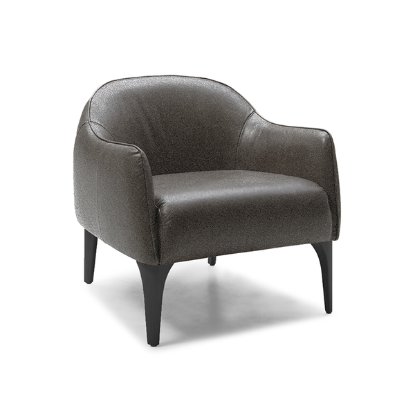 modern curved mottled grey leatherette arm chair with distressed black leg