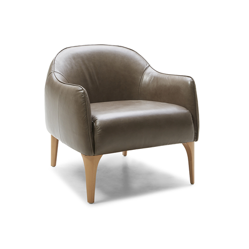 modern curved grey leather arm chair with honey leg