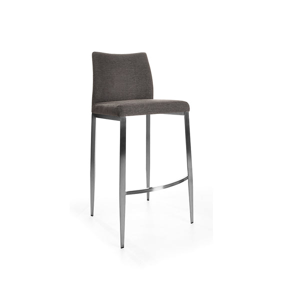 modern black leatherette bar stool with smoked walnut metal leg