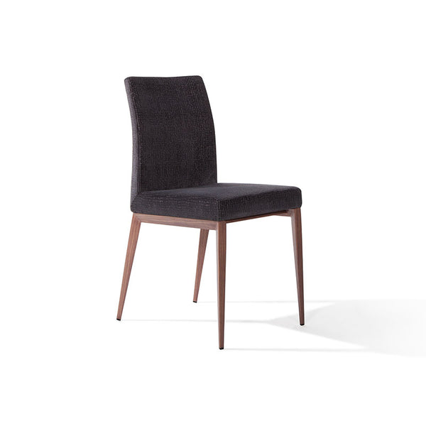 Modern Custom Order Dining Chair in black leather with wood finished leg