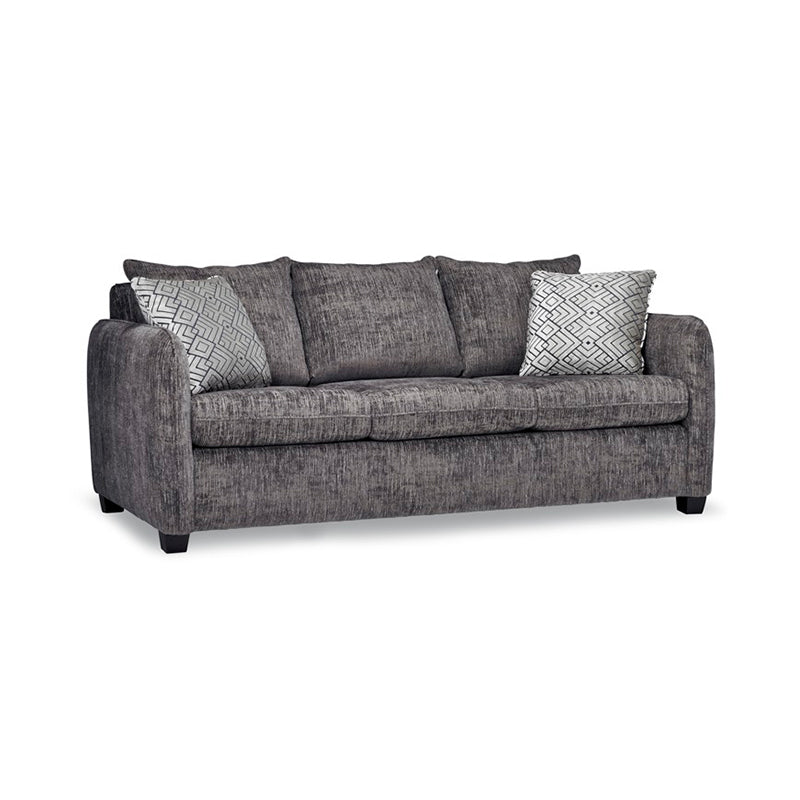 Grey modern custom order fabric sofa with solid wood feet and 2 toss cushions
