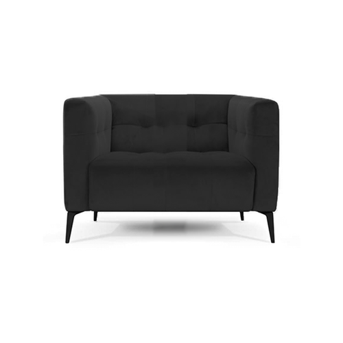 modern black polysoft leather match tufted velvet arm chair with angled metal legs