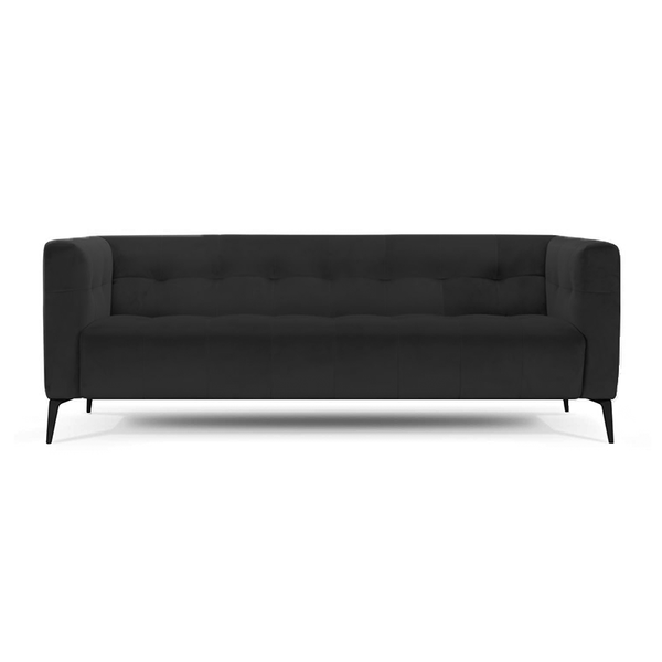 modern smoke grey tufted velvet sofa with metal legs