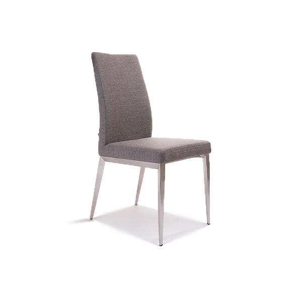 Modern Custom Order Dining Chair in black fabric with wood finished leg