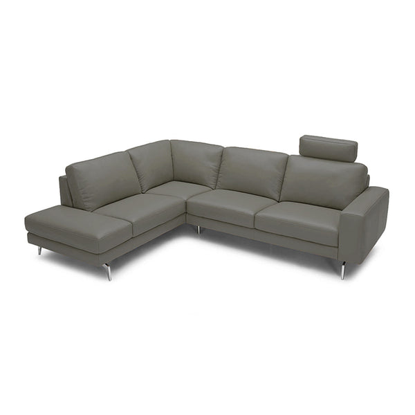 modern navy top grain leather sectional with one headrest