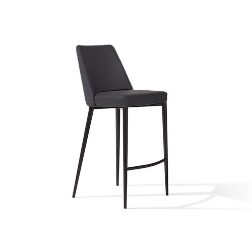 modern black fabric bar stool with matte black metal leg