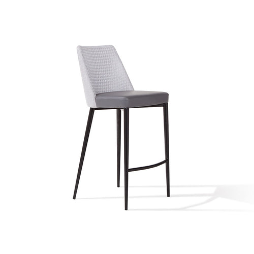 modern grey fabric and leatherette bar stool with matte black metal leg