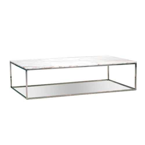 modern rectangular greek volakas white marble topped coffee table with polished stainless steel base