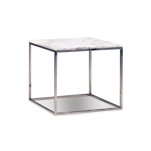 Wonderful Modern Square Greek Volakas White Marble Topped End Table With Polished  Stainless Steel Base