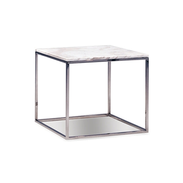 modern square greek volakas white marble topped end table with polished stainless steel base