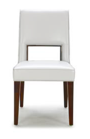 White modern leather dining chair with dark wood legs