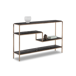 modern tiered console sofa table with recycled black pine plank sheves and steel frame with antique brass finish