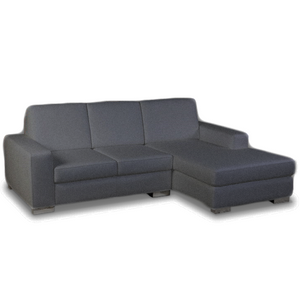 Modern condo size charcoal fabric sectional, right hand facing, with silver metal feet