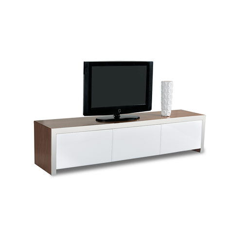 Modern Walnut Veneer TV Media Stand Unit with Stainless Steel Trim and 3 White Gloss Drawers