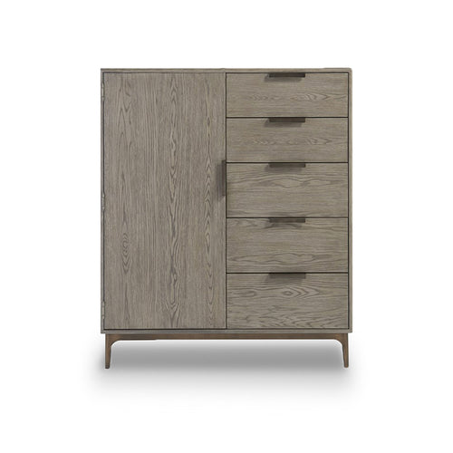 modern rustic granite grey stained chest with full door, 5 drawers in descending size and bronzed base and pulls