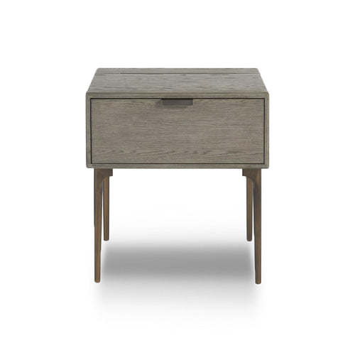 modern rustic granite grey stained night stand with 1 drawer,  plug and USB port, and bronzed base and pulls