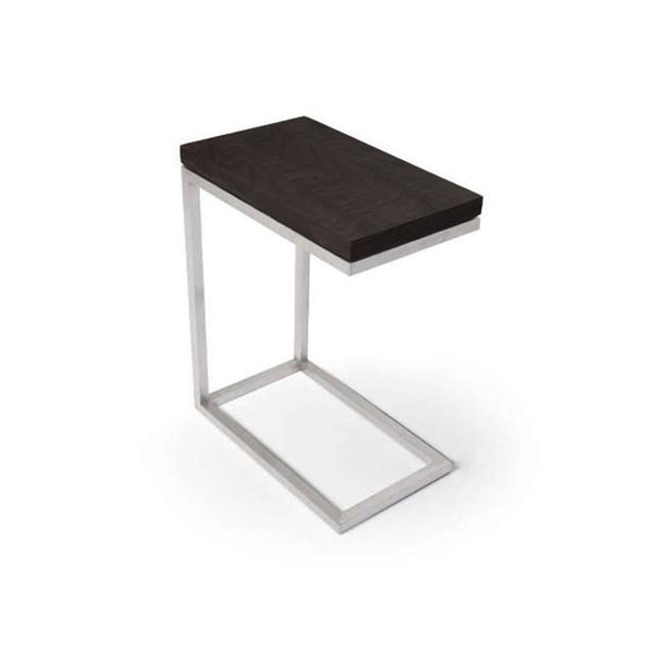 modern c-shaped end table with white cararra marble top and brushed steel base