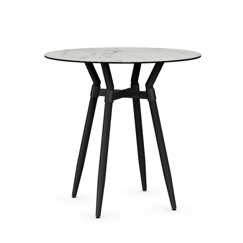 modern round custom order porcelain on glass topped counter height bar pub table with black metal frame