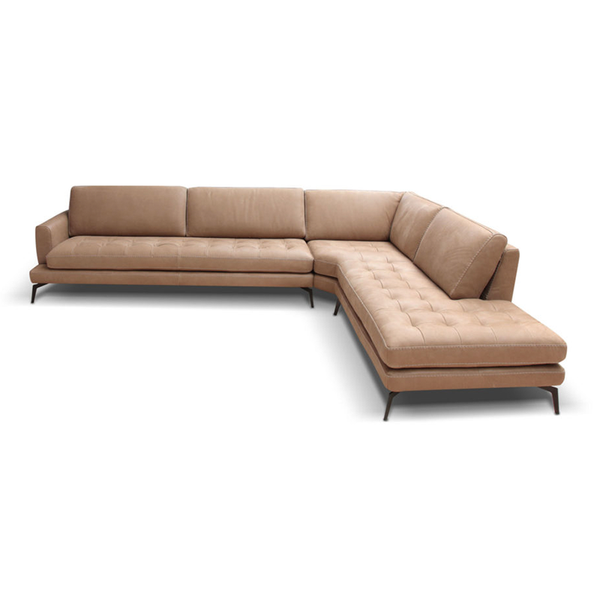 modern luxury italian custom order left hand facing leather sectional in buff beige