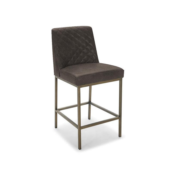 Modern Quilted Bingo Brown Fabric Counter Height Bar Stool  with Antique Brass Leg