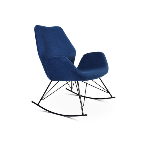 modern mid century blue fabric rocking chair with black metal rockers